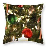 Candles For Christmas 5 Throw Pillow