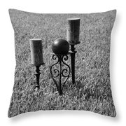 Candles In Grass Throw Pillow