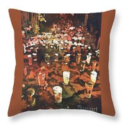 Candles In Graveyard During Day Of The Dead In Patzcuaro, Mexico Throw Pillow