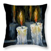 Candles Oil Painting Throw Pillow