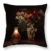 Candlestick And Roses Throw Pillow
