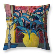 Candlesticks And Blossoms Throw Pillow