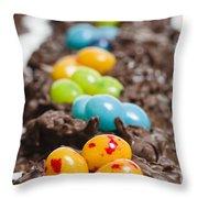 Candy Bird Nests  Throw Pillow