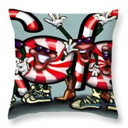 Candy Cane Gang Throw Pillow