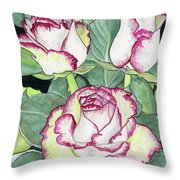 Candy Cane Roses Throw Pillow