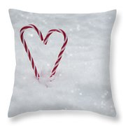 Candy Canes In Snow Throw Pillow