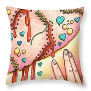Candy Colored Heartache Throw Pillow by Amy S Turner