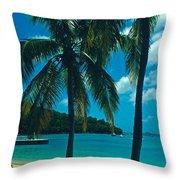 Caneel Bay Palms Throw Pillow