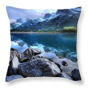 Canmore Reservoir Under A Setting Sun Throw Pillow