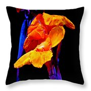 Canna Lilies On Black With Blue Throw Pillow