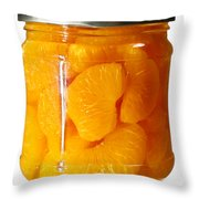 Canned Mandarin Oranges In Glass Jar Throw Pillow