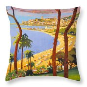 Cannes Vintage Travel Poster Throw Pillow