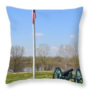 Cannon And Flagpole Overlooking River Throw Pillow