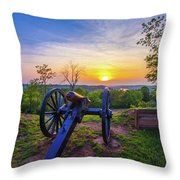 Cannon At Sunset Throw Pillow