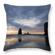 Cannon Beach At Sunset 5 Throw Pillow