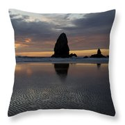 Cannon Beach At Sunset 7 Throw Pillow