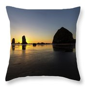 Cannon Beach Low Tide Sunset Throw Pillow