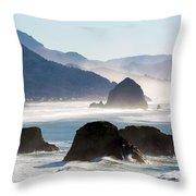 Cannon Beach On The Oregon Coast Throw Pillow