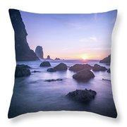 Cannon Beach Rocks Sunset Throw Pillow
