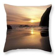 Cannon Beach Sunset-oregon Throw Pillow