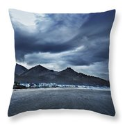 Cannon Beach Under Clouds Throw Pillow