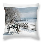 Cannon Under Snow Throw Pillow