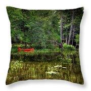 Canoe Among The Reeds Throw Pillow
