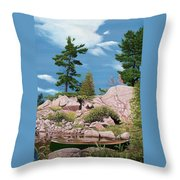 Canoe Among The Rocks Throw Pillow