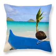 Canoe And Coconut Throw Pillow
