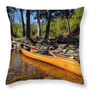 Canoe At Portage Landing Throw Pillow by Larry Ricker