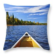 Canoe Bow On Lake Throw Pillow