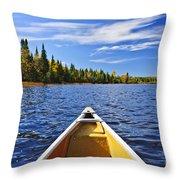 Canoe Bow On Lake Throw Pillow by Elena Elisseeva