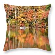 Canoe Fishing  Fall Throw Pillow