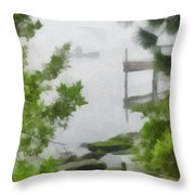 Canoe In Lake Fog Throw Pillow