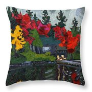 Canoe Lake Chairs Throw Pillow by Phil Chadwick