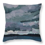 Canoe Lake Rain Clouds Throw Pillow