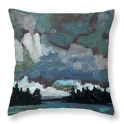Canoe Lake Rain Throw Pillow