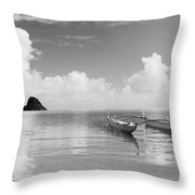 Canoe Landscape - Bw Throw Pillow