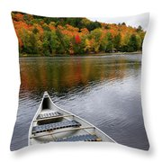 Canoe On A Lake Throw Pillow by Oleksiy Maksymenko