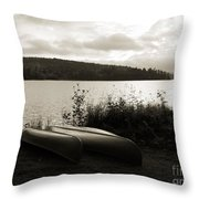 Canoe On A Shore Of A Lake At Dawn Throw Pillow