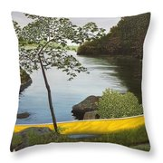 Canoe On The Bay Throw Pillow