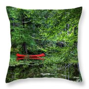 Canoe On The Shore Throw Pillow