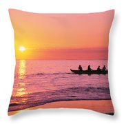 Canoe Paddlers Throw Pillow