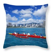 Canoe Race Throw Pillow