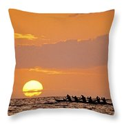 Canoeing At Sunset Throw Pillow