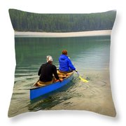 Canoeing Glacier Park Throw Pillow