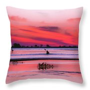 Canoeing On Color Throw Pillow