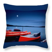 Canoes And Moon 87 Throw Pillow