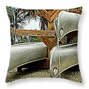 Canoes At Canaveral National Seashore Throw Pillow
