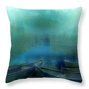 Canoes At Nightfall Throw Pillow